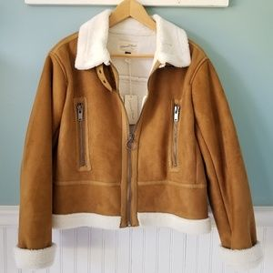 Ultra Suede Shearling Lined Bomber Jacket
